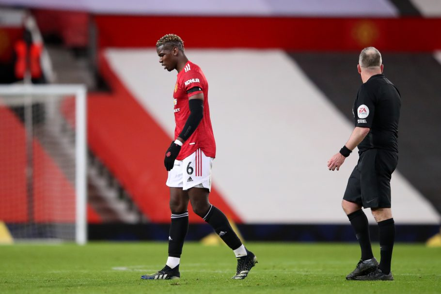 Paul Pogba limps out of Man United's clash with Everton